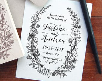 Save the Date Stamp #24 - Botanical - Modern Script Calligraphy - Personalized