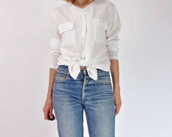 90s Minimalist button up shirt / size S-L