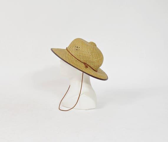 SALE! 70s Safari straw hat avant garde street style headwear / size 57