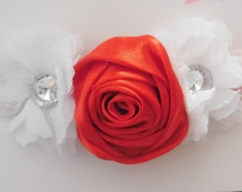 Red Rosette and White Flower Headband