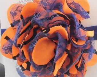 Orange and Navy Blue Lace Flower Headband