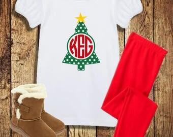 Monogram Christmas Outfit, Girls Christmas Outfit, Monogram Christmas Shirt Girls, Monogram Christmas Shirt