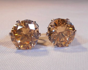 Champagne Morganite Stud Earrings|Simulated Man Made Diamonds|Lab Created 8mm Round|Peach Champagne Morganite|Sterling Silver Settings