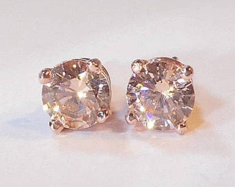 Champagne Morganite Rose Gold Earrings|Morganite Rose Gold Earrings|Champagne Morganite Rose Gold Stud Earrings|Morganite Gold Jewellery