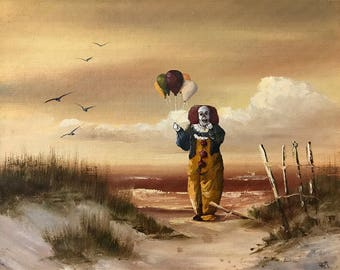 It Pennywise Scary Clown Parody - Print or Poster - Funny Horror Movie Art Creepy Clown Painting Gift for Horror Movie Fan Evil Clown Poster