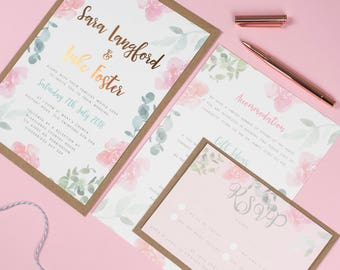 FOIL Watercolour Leafy Floral Wedding Invitations - Rose