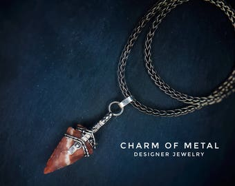 Silver jewelry wire wrapped gift for woman man unisex brutal warrior Talisman fantasy weapon arrowhead arrow red agate pendant necklace