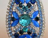 Blue Glass Stones Rhinestones Vintage Easter Egg on Stand Czechoslovakia  #M8