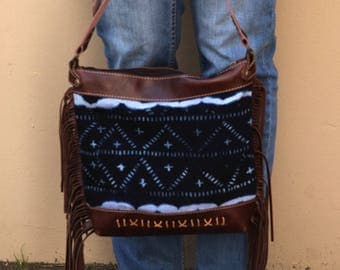Brown Leather Fringe Bag - Brown Leather Boho Bag - Brown Leather Cross Body Purse - Tribal Boho Bag - Indigo Shibori Bag