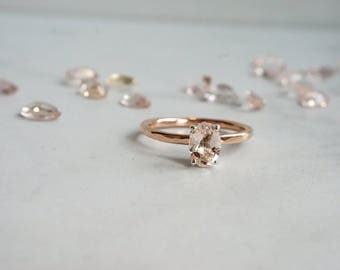 Rustic 7x5 mm Genuine Light Peachy Pink Morganite/Oval cut  Mixed Metals/14K Rose Gold Filled Hammered Band/Four Prong Fleur de lis Setting