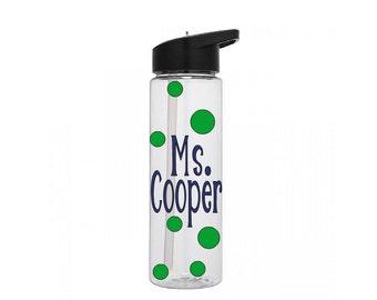 Teacher Water Bottle, Personalized Teacher Gift, Teacher Plastic Water Bottle, Water Bottle Gift, Drinking Bottle, Polka Dot Bottle
