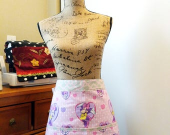 90's Vintage Fabric Minnie Half Apron / Cotton / Long