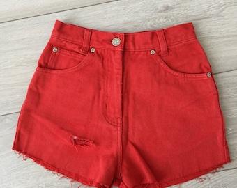 Red denim shorts | Etsy
