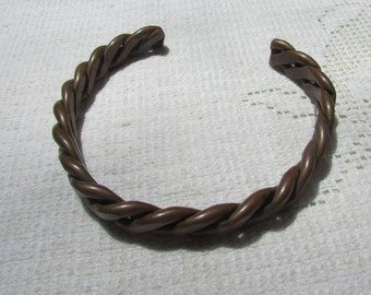 Vintage man's heavy flat twisted wire Brutalist minimalist  copper cuff  bracelet boho tribal man's jewelry