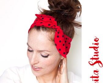 Red Headband - Red Polka Dot Headband Minnie Mouse Rosie The Riveter Bandana Pinup Rockabilly Women Hair Accessories Vintage Red Headband