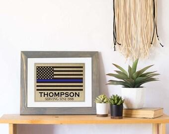 Thin Blue Line Family Name Burlap Print, LEO Sign, LEO Decor, Law Enforcement Retirement Gift, Police Officer Husband, Police Wedding Gift