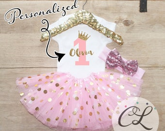 First Birthday Tutu Outfit / Baby Girl Clothes Princess 1 Year Old Outfit One Birthday Set 1st Birthday Girl Baby Tutu Bow Crown Set 067