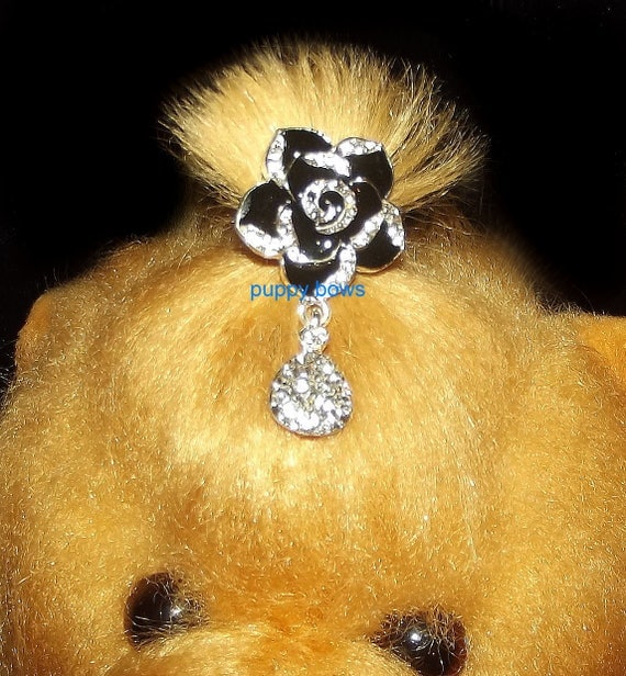 Puppy Bows ~ Rhinestone crystal 6 petal flower dangle barrette 3 NEW styles!~ US Seller