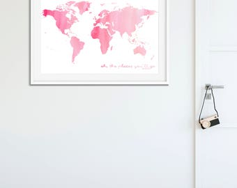 Oh the Places You'll Go Watercolour Print (PINK)