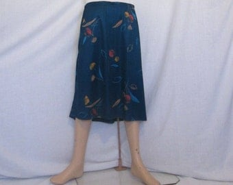 SALE Vintage 1970's skirt green red gold floral print polyester home made hand made