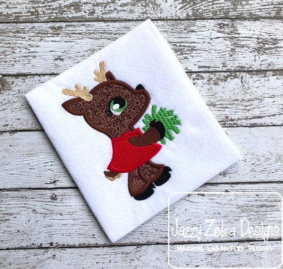 Reindeer Cheerleader appliqué embroidery design - Christmas appliqué design - reindeer appliqué design - girl appliqué design - cheerleader