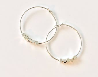 Skinny Hoops Small Silver Hoop Earrings Minimalist Hoops Thin Hoops Simple Hoops Modern Silver Circle Earrings Wire Hoop Earrings Sterling