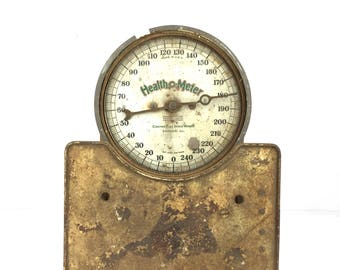 Antique Floor Scale Health O Meter  Scale 1940s Industrial Metal Floor Scale 1940s Health O Meter Heavy Floor Scale