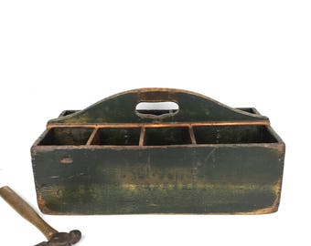 Antique Primitive Wood Tool Box Vintage Green Paint Organizer Old Wood Caddy Organzier Antique Caddy Divided Tool Caddy with Drawer