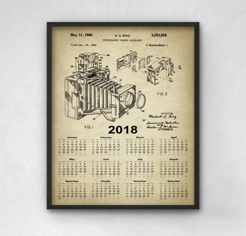 2018 Calendar Vintage : Camera patent calendar vintage design