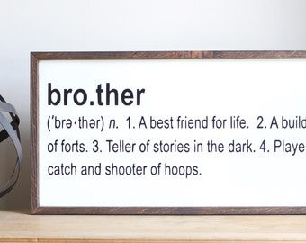 brother definition sign, baby room decor, nursery wall decor, hanging wall sign, hanging wall decor, home and living, baby shower gift, kids