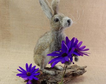 Needle felt bunny faux taxidermy custom pet replica needle felt hare wool replica poseable soft sculpture brown hare Jackrabbit wild hare