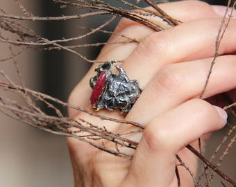 Rough ring, Halloween ring, textured ring, sterling silver ring, brutalist ring, unique ring, goth jewelry, Halloween jewelry, garnet ring