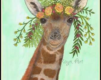 Boho Baby Giraffe,  Sweet and innocent, Floral Head Wreath, Drawing with Watercolor accents, Card or Print, Item #0582a