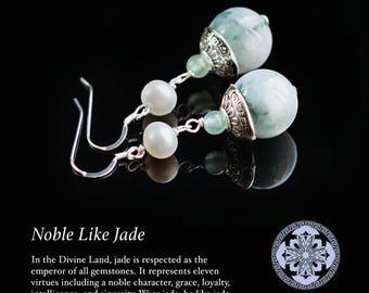 Sterling Silver Jade and Pearl Earrings, Chinese Green Jade Earrings, Gemstone and Pearl Earrings, Semi-Precious Stone Earrings