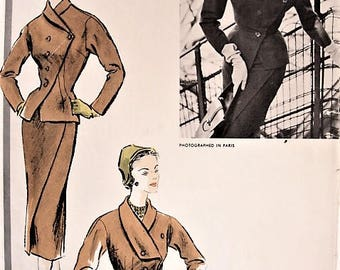 50s STUNNING and RARE Desses Suit Pattern VOGUE Paris Original Model 1288 High Couture Slim Skirt Fitted Jacket B 30 Vintage Sewing Pattern