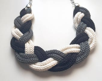 Black and white Tricot braid necklace