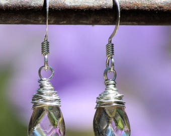 Small Wire Wrapped Faceted Smoky Quartz Drop Earrings