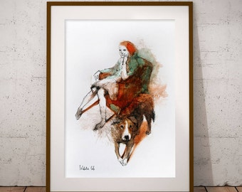 Original watercolor painting Woman with a Dog. FREE SHIPPING! Watercolor Dog Illustration. Watercolour Female Portrait.