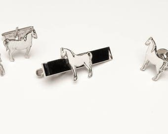 Vintage White horse Tie Bar,Cufflinks, Shirt studs complete set white enamel on silver#379