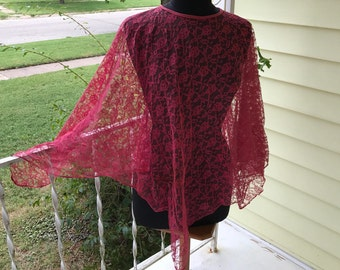 Sheer Lace Rosy Pink Poncho Shawl Cover Up/OSFM/Boho/Wedding/Dance/Prom/Festival/Batwing/1970s 80s/Fingertip length