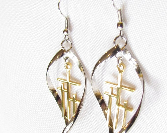 Calvary 3 Cross Earrings Necklace Silver Gold Hoop Drop Dangle Womans Christian Jewelry - Saint Michaels Jewelry - Calvary Three Cross