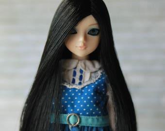 Black Wig for J-doll, Momoko, Obitsu 3.5-4 inch