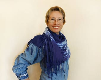 Hand dyed blue white large scarf Shibori tie dye Warm rayon shawl Fringe Unique shoulder wrap Any season