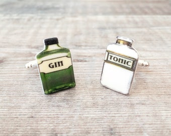 Gin and tonic cuff links - Gin cuff links - Quirky cuff links - Gift for him - Gin gift - Gin lover - Groom gift - Wedding cuff links