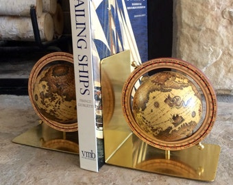 Vintage Old World Globe Bookends, Brass, Made in Taiwan, Republic of China, Mid Century, Old World, Bookshelf, Office, Man Cave Decor