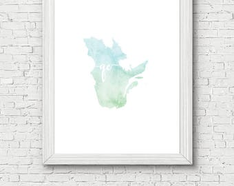 Quebec Province Printable - digital download, dorm decor, clean and simple, watercolor, minimalist art, canada outline