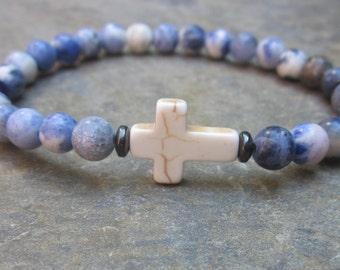cross bracelet blue sodalite bracelet white stone cross minimalist custom sizes mens bracelet women's bracelet religious stretch bracelet