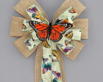 Butterfly Burlap Spring Wreath Bow - Easter Wreath Bows, Spring Bow, Spring Wreath Bow, Easter Decorations