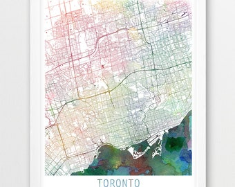Toronto map etsy toronto city urban map poster toronto street print watercolor map toronto canada modern gumiabroncs Choice Image
