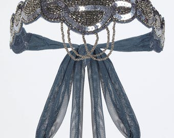 Blue Grey Great Gatsby Flapper Headband Vintage inspired 1920s vibe Beaded Robe Charleston Downton Abbey Sequin Art Deco Mod New Hand Made